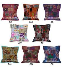 """16"""" Patchwork Cushion Pillow Cover Handmade Embroidered Throw Indian Decor Art"""