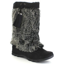 SODA Women's Moccasin Soft Faux Fur Lace Up Mid Calf Casual Boots