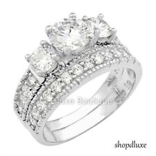 3.75 CT ROUND CUT CZ VINTAGE STERLING SILVER WEDDING RING SET WOMEN'S SIZE 4-11