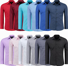Mens Long Sleeve Casual Shirt Dress Shirt Button Front Business Slim Fit NEW
