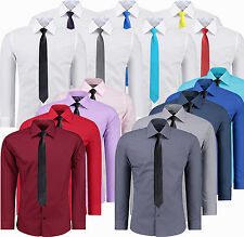 Mens Top Casual Formal Dress Shirts Long Sleeve Business Work Slim Fit Tie S-XXL