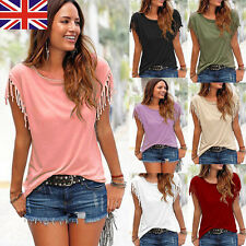 New Hot Womens Tassels Short Sleeve Loose T-Shirt Lady Summer Casual Tops Blouse