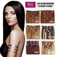 100% Real Remy Human Hair Full Head Clip in Hair Extensions 100g 7/8PCS