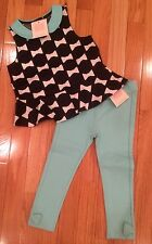 NWT Janie & Jack HIGH TEA HOLIDAY 2T 3 6 Bow Top Ponte Pants Teal SET $64 Blue