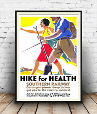 Hike for health , Vintage advertising Reproduction poster, Wall art.