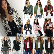 Womens Ladies Classic Bomber Jacket Vintage Zip Up Biker Baseball Coat Outerwear