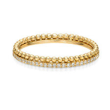 14K Gold Pave Diamond Bead Ball Stacking Ring Eternity Ring Set Set of two rings