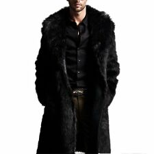 Luxury Mens Black Faux Fur Coat Parka Overcoat Warm Long Jacket Winter Outerwear
