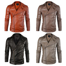 Fashion Mens Slim Fit Jacket PU Leather Punk Motorcycle Biker Coat Outerwear SC
