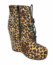 WOMENS LEOPARD PRINT SPIKE GOTH PUNK PLATFORM WEDGE ANKLE BOOTS LADIES SIZE 3-8