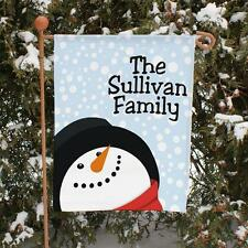 Personalized Snowman Garden Flag Christmas Family Name Let it Snow Yard Flag