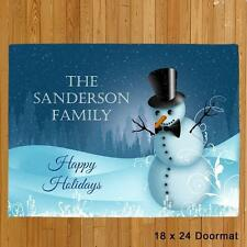 Personalized Christmas Doormat Family Name Welcome Snowman Holiday Doormat Mat