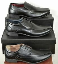 Mens formal shoes black with design detail party wedding workslip on or lace up