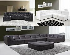 Sectional Sofa Furniture Bonded Leather Sectional Couch 6pc Living Room 3 Color