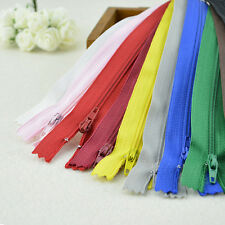 10X Assorted CONCEALED INVISIBLE NYLON ZIPS SEWING CLOSED END ZIPPERS 22CM FJ