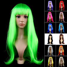 Halloween Long Straight Hair Wig FUNNY SEXY Cosplay Party Full Wigs Multie Color