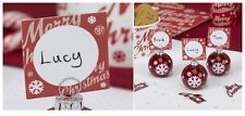 Merry Christmas Place Card Red Snowflake Tableware Decoration Party Home Dinner