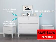 White Tallboy & 2x bedside tables,chest of drawers suite,HARDWOOD TIMBER FRAME!
