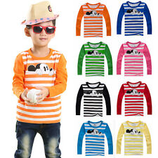Kids Mickey Mouse Striped Shirt Blouse Boys Girls Long Sleeve T-Shirt Tops Tee