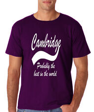 CAMBRIDGE Probably The Best City In The World Mens T Shirts White  Purple