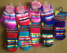 KIDS BOYS AND GIRLS ONE SIZE STRIPY COLOURFUL MITTENS