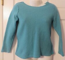 Eileen Fisher Boiled Wool Teal Sweater Sz M