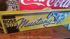 MUSTANG BOSS 302 Embossed Metal FORD Shelby Cobra Mach Man Cave Garage Shop Tin