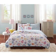 Kids Girls Happy Lady Bug Butterfly Pink Bed Set w/Coverlet & Sheets Twin Full