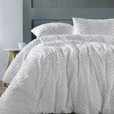 Chevron White 100% Cotton Chenille Quilt Doona Cover Set QUEEN KING European Pcs