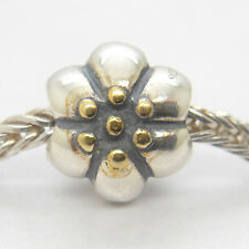 Authentic Genuine S925 Silver Threaded Flower Bead with Gold charm bead