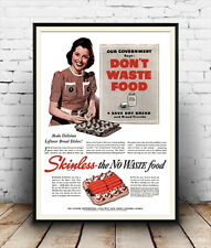 Dont waste food : Vintage wartime advert, Reproduction poster, Wall art.