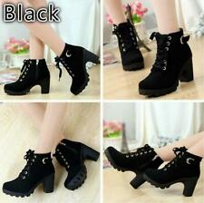 Womens Platform Chunky High Heel Lace Up Motorcycle Martin Ankle Boots Shoes Q
