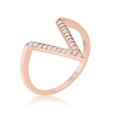 Michelle 0.2ct CZ Rose Gold Plated Accent Delicate Geometric Style V Shape Ring