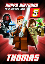 STAR WARS Lego Personalised Birthday Card Son Nephew etc ANY NAME AGE RELATIVE!