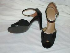 Vtg 80s genuine leather suede open toe strappy ankle shoes pumps sandals heels 7