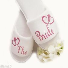 Personalised Bride Spa Slippers Wedding Guest Shoe Pink Hearts & Diamante