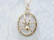 14k Yellow Gold Black Widow Spider Pendant Necklace