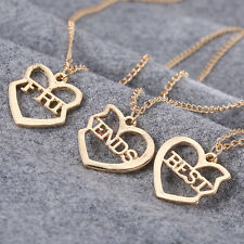 Fashion Heart Three Stitching Love Couple Chain Pendant Necklace Women Jewelry