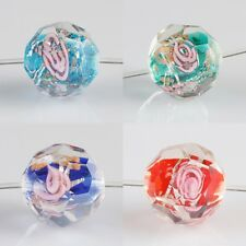 Wholesales Murano Lampwork Glass Clear Faceted Floral Flower Loose Spacer Beads