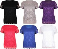 NEW WOMENS PLUS SIZE SHORT SLEEVE FLORAL LACE STRETCH BLOUSE T-SHIRT TOP 14-28