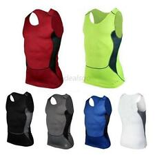 Mens Compression Under Skin Base Layer T-Shirt Tight Tops Sleeveless Vest Tank