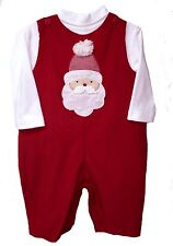 Boys Overall Set Santa Face Red Corduroy Overalls Zu Petit Ami Infant Sizes NWT