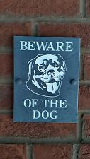"""BEWARE OF THE DOG Plaque Natural Slate 8""""x6"""" Rottweiler Present Gift Sign Carved"""