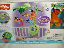 BABY CRIB TOY FISHER PRICE RAINFOREST PEEK-A-BOO LEAVES MUSICAL MOBILE W/REMOTE