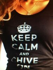 the Chive *Authentic* Keep Calm and Chive On BLACK/WHITE women *RARE* KCCO S M L