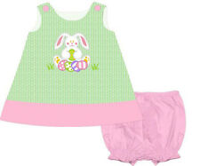 Girls Easter Dress Easter Bunny Popover Applique Panty Dress Babeeni NWT