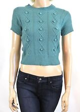 NEW NWT Anthropologie Tulle Teal Green Crotcheted Woman's Short Sleeve Sweater