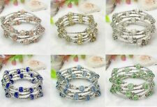 Wholesale Lot 8 Wholesale Adjustable Bead Silver Wrap Bracelets Crystal Gemstone