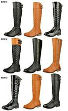WOMENS LADIES KNEE HIGH LOW HEEL FLAT CALF QUILTED RIDING WINTER BOOTS SIZE