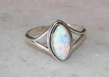 925 Sterling Silver White Fire Opal Stone Silver Ring Size 5 6 7 8 9 10 11
